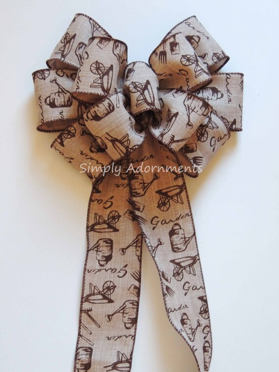Rustic Spring Wreath bow Garden Tools Wired ribbon Bow Cabin Garden Flag Bow Rustic Brown Tan Bucket Bow Country Garden Theme party decor