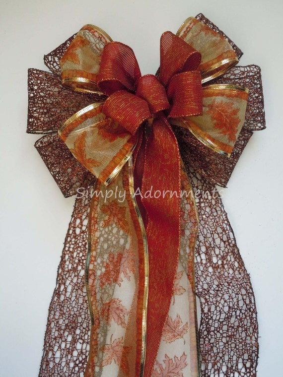 Brown Burnt Orange Wreath bow Brown Copper Fall Wedding Bow Brown Fall Leaves Bow Thanksgiving Wreath Bow Fall Wedding Ceremony Chair Decor