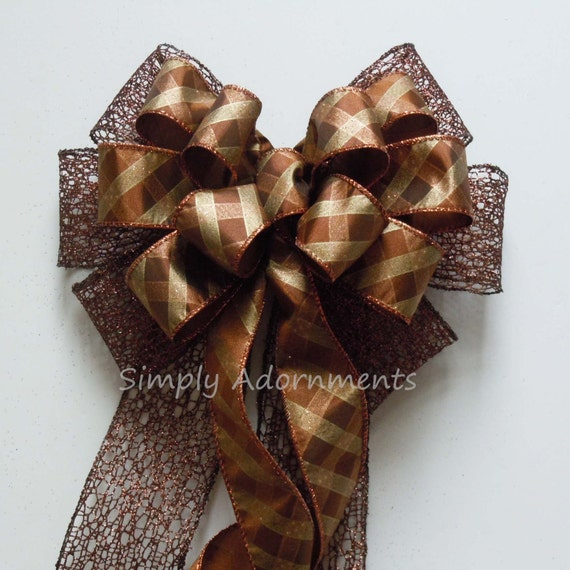 Fall Plaid Wreath Bow Brown Plaid Fall Swag Bow Autumn plaid Wedding Pew Bow Brown Thanksgiving Wreath Bow Fall Plaid Door Bow Fall Gift Bow