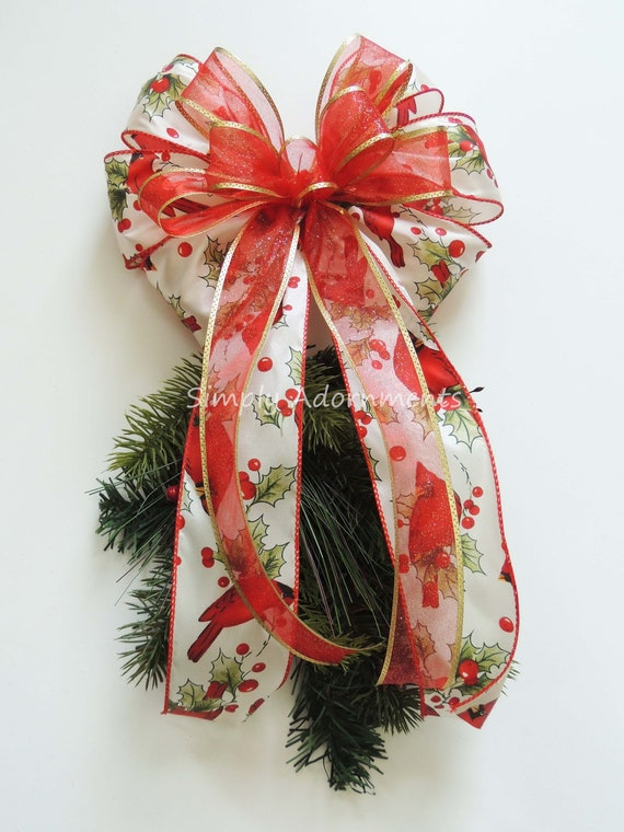 Cardinal Christmas Tree Topper Bow Red Christmas Wreath Door Etsy