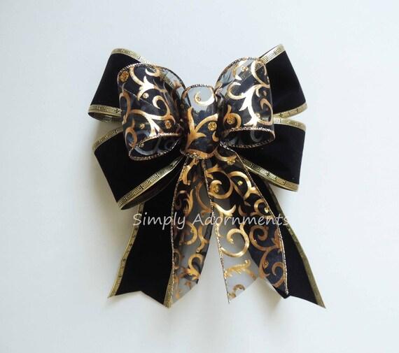 Black Velvet Gold swirls Bow Black gold graduation party Decor Black Gold Wreath Bow Gold Black Wedding Pew Bow Black Gold New Year party