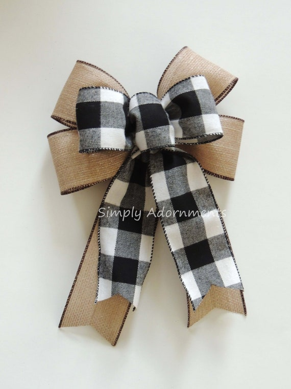 Stupendous Black White Buffalo Plaid Sparkle Burlap Bow Black White Ncnpc Chair Design For Home Ncnpcorg