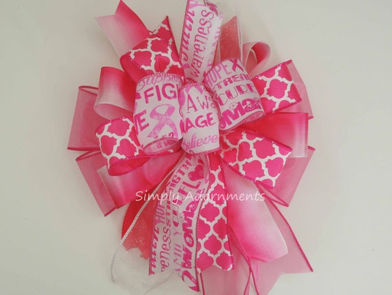 Pink October Awareness Wreath Bow Breast Cancer Awareness Bow Cancer Awareness Bow October Pink Ribbon Bow Breast cancer Awareness Swag bow