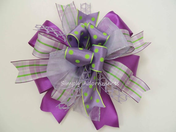 Whimsical Purple Mother's Day Wreath Bow Lavender Swag Bow Purple Lime Lantern Swag bow Purple Spring Gift Basket Bow Purple Door hanger Bow