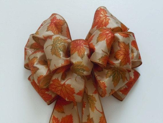 Burnt Orange Fall Leaves Bows fall Wedding Church Pew Bows Foliage Wreath Bow Fall Autumn Leaves Bows Thanksgiving Wreath bow