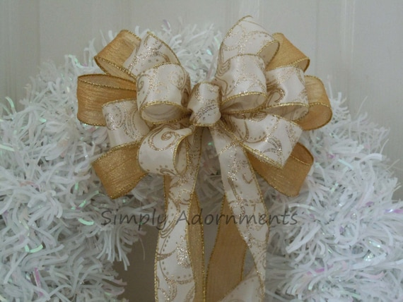 Ivory Gold Swirls Wedding Pew Bow Ivory Gold Christmas Bow Filigree Wedding Aisle Decor Gold Ivory Church Pew Bow Wedding Ceremony Decor