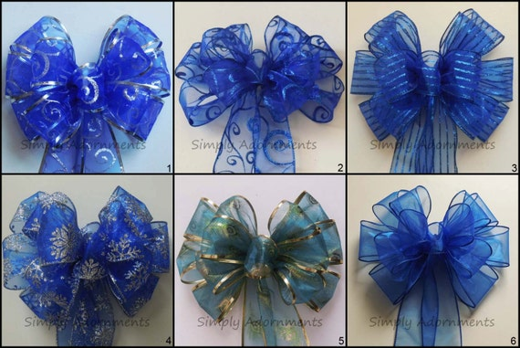 Royal Blue wedding decor blue Silver Wreath Bow Winter Holidays Bow Royal Blue Wedding Pew Bows Church Aisle Decor Bow Birthday Party Decor