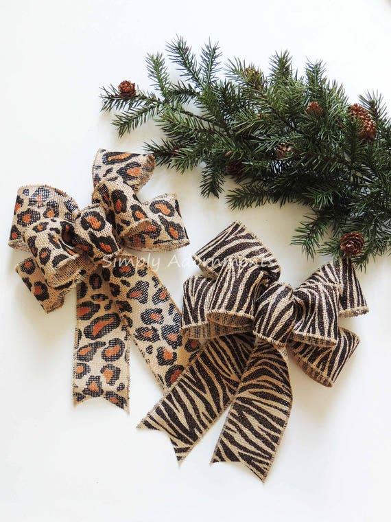 Leopard Burlap Christmas Bow Zebra  Burlap Wreath Bow Holiday Animal Print Bow Leopard zebra Wedding Bow Leopard Zebra Theme Party Decor