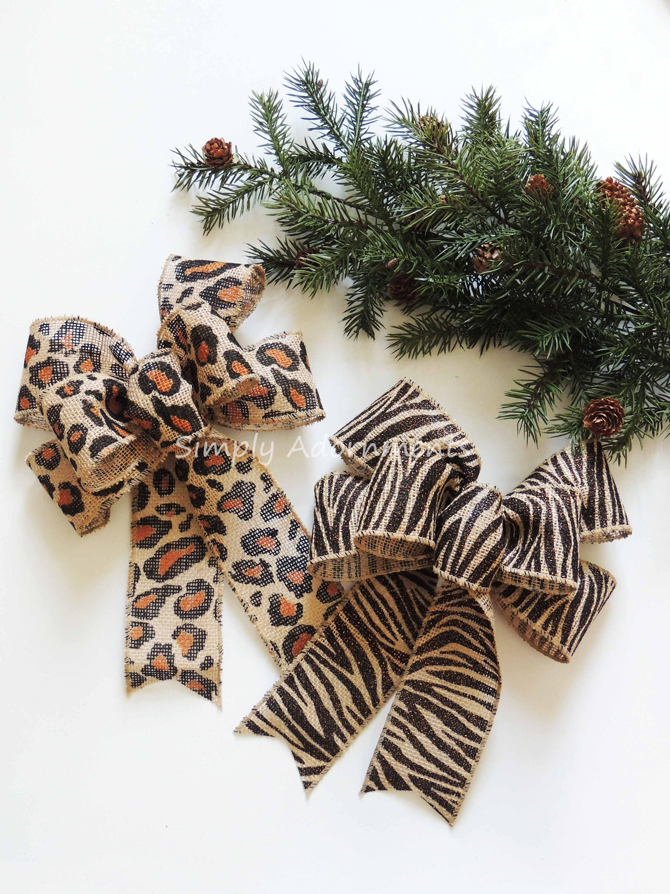leopard burlap christmas bow zebra burlap wreath bow holiday animal print bow leopard zebra wedding bow leopard zebra theme party decor - Christmas Zebra Decorations