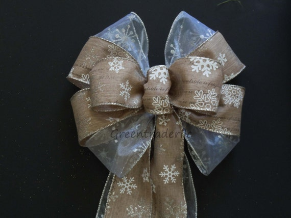 Rustic Christmas Wreath bow Rustic Burlap Snowflakes Wreath bow Tan white Snowflakes Christmas Tree Bow Winter Holidays Swag Bow