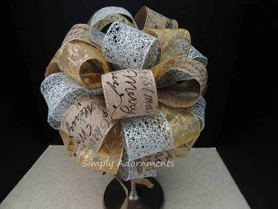 Silver Gold burlap Tree Bow Rustic Merry Christmas Scripts Tree Topper Bow Gold Silver Black Scripts Topper Tree Bow Christmas Decoration