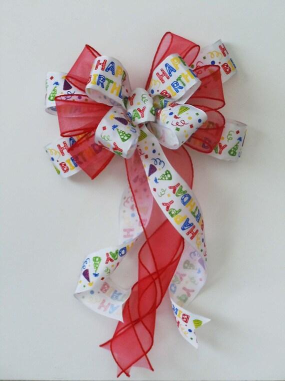 Red Birthday Bow Multi-colored Happy Birthday Scripts Bow Handmade Birthday Gift bow Birthday Party Decoration Happy Birthday Gift Wrap Bow