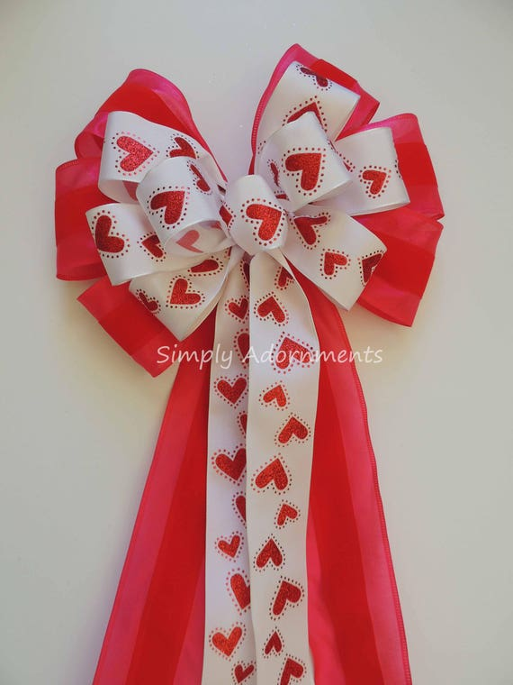 Red Pink Valentine Wreath Bow Glitter Red Heart Valentine Bow Valentine Heart Wreath Bow Red Valentine Wedding Pew Bow Valentine Gifts Bow