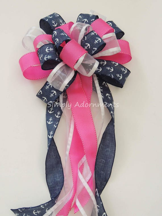 Pink Nautical Anchor Party decor Bow Pink Nautical Decor Nautical wreath Bow Pink Nautical Birthday Party Decoration Nautical Shower Decor
