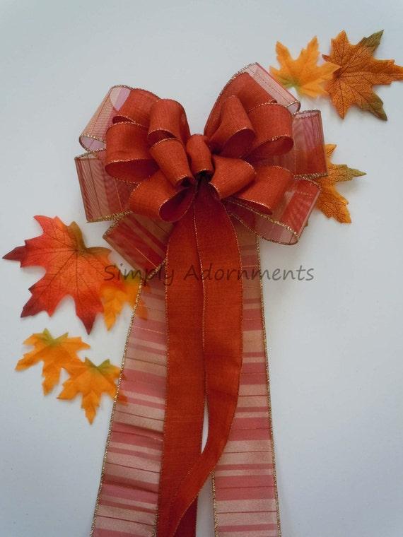 Burnt Orange Fall Wedding Pew Bow Burnt Orange Fall Wedding Pew Bow Thanksgiving Wreath Bow Fall Wedding Ceremony Decoration