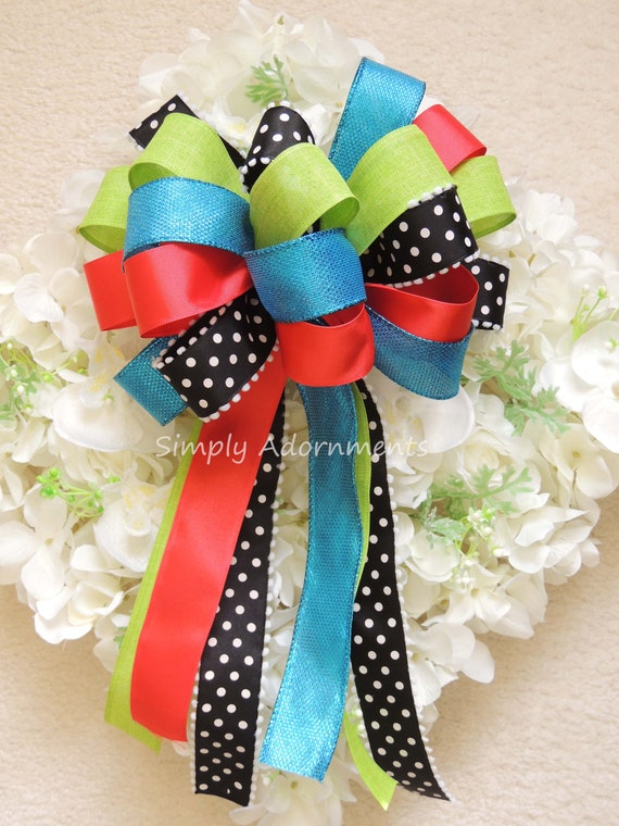 Coral Blue Green Spring Wreath Bow Coral Turquoise Lime black Birthday Party Decor Orange Blue Green Pew Bow Pink Lime Baby Shower Gift Bow