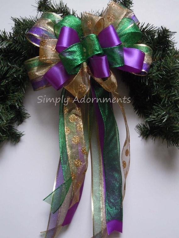 Mardi Gras Christmas Wreath Bow Mardi Gras Wedding Bow Purple Gold Green Bow Mardi Gras Christmas Tree Topper Bow Mardi gras Gift Bow