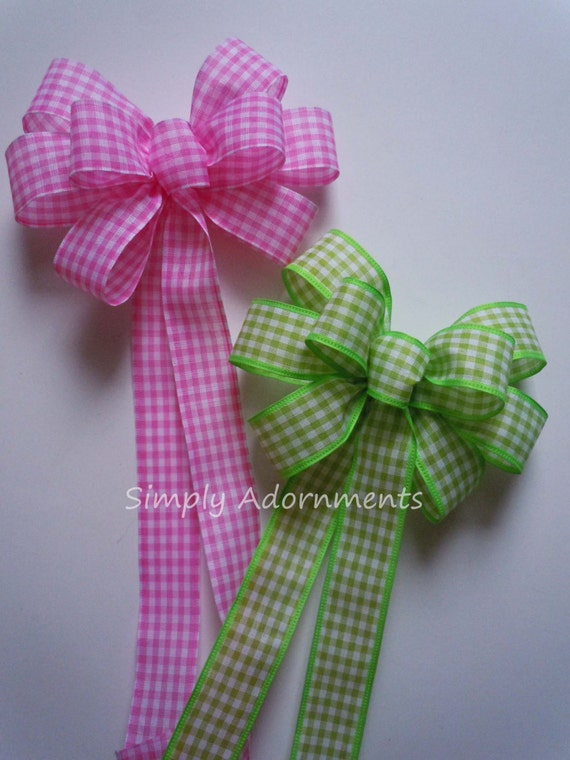 Pink or Green Gingham Wreath Bow Pink Spring Check Bow Green / Pink Easter Wreath Bow Pink Check Easter Gift Bow Shower Birthday Party Decor