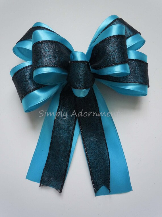 Black Blue Graduation Party Wreath Bow Carolina Panthers Bow Black Blue Wreath Bow Blue Black Grad Celebration Party Decor handmade Gift Bow
