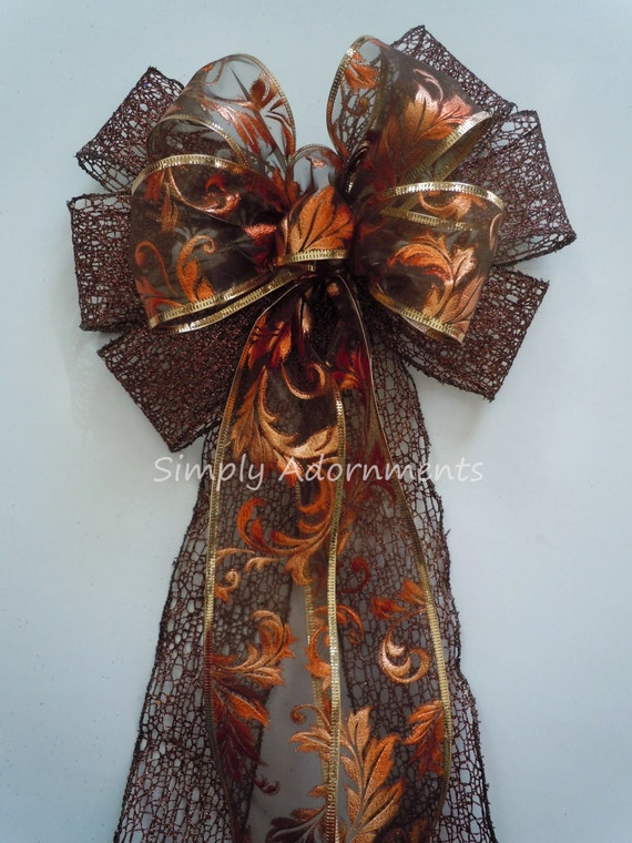 Brown Bronze Filigree Bow Thanksgiving Wreath Bow Fall colored bow Bronze Swirls Fall Pew Bow Fall Wedding Aisle Decor Brown Fall Decor bow