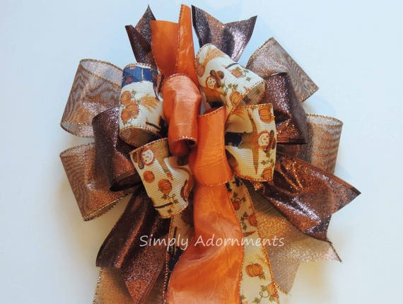 Whimsical Harvest Scarecrow Wreath Bow for Wreath Fall Harvest scarecrow Lantern swag Bow Thanksgiving Wreath Bow for Lantern Fall Gift bow