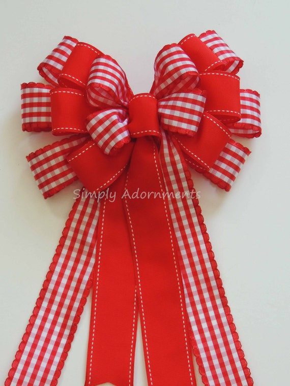 Red White Country Check Bow Christmas Country Gingham Wreath Bow Red Gingham Wedding Pew Bow Red lodge Check Door Hanger Bow Gift Wrap Bow