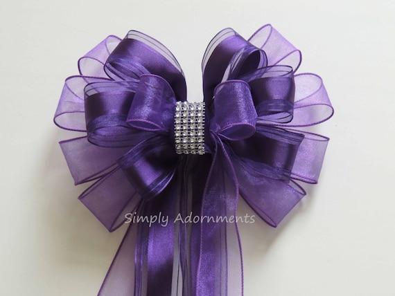 Purple Wedding Pew Bow Purple Church Aisle Decoration Bow Purple Wreath Bow Purple Birthday Party Decor Purple Shower Bow Birthday Gift Bow