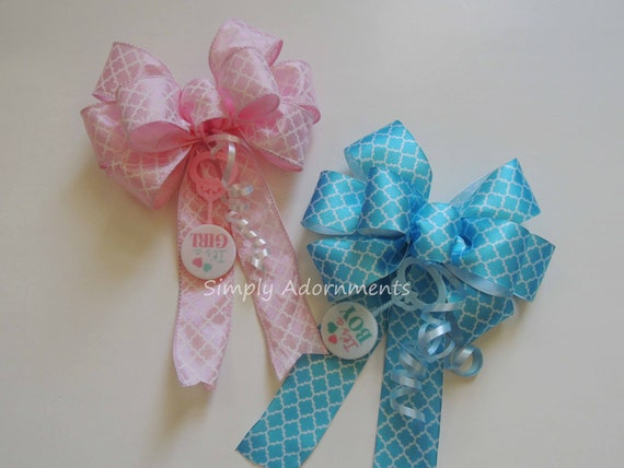 Set of 2 Baby Gender Reveal Party Decor It's a Boy or Girl Baby Shower Decor Baby Reveal Party Decor Pink Blue Decor Baby Reveal Gift Bows