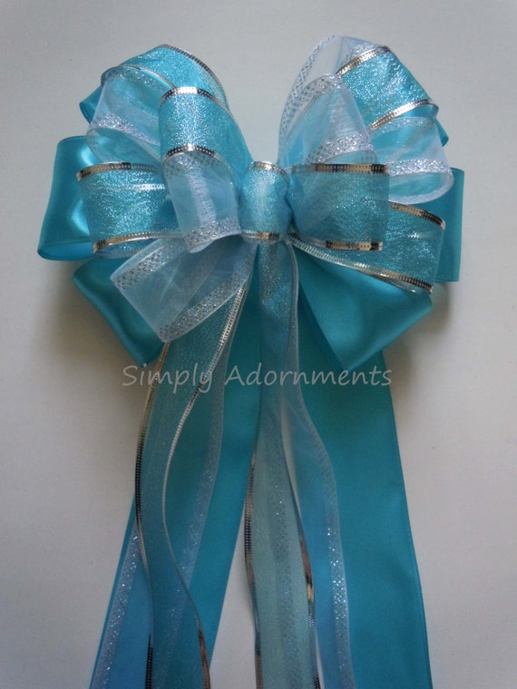 Turquoise Blue Silver Wedding Bow Blue Church Pew Decorations Etsy