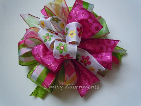 Whimsical Pink Green Spring floral Bow Funky Pink Green Wreath Bow Pink Lime Birthday Party Decor Pink Plaid Bridal Shower Decor Bow Gift bo