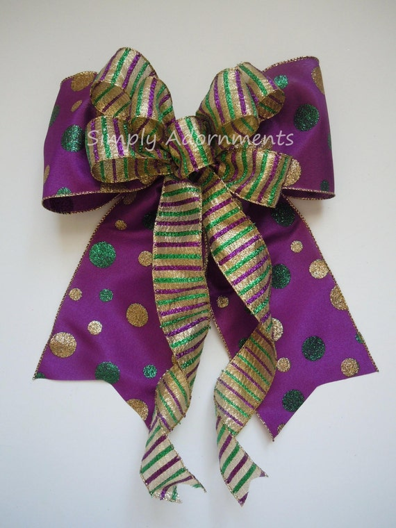 Mardi Gras Christmas Wreath Bow Mardi Gras Christmas swag door Bow Wedding Pew Bow Purple Gold Green Bow Mardi Gras Christmas Tree Bow