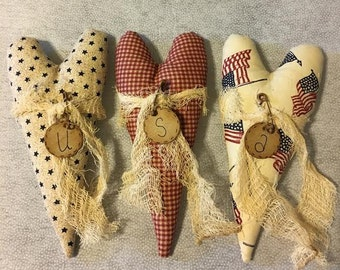 Americana Decor -  USA Decor - 4th of July Decor - Primitive Hearts - Patriotic Heart - Patriotic Decorations - Rustic Decor - Red - Blue