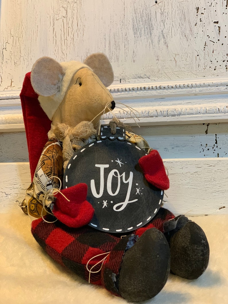 Christmas Mouse.Christmas Mouse Primitive Christmas Decor Buffalo Plaid Christmas Farmhouse Christmas Decor Joy Christmas Ornament Rustic Decor