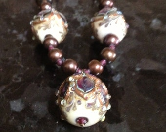 Exquisite pearl, garnet and lampwork bead necklace - 23 inches - FREE SHIP to US