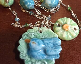 Beautifully detailed porcelain and sterling filigree necklace - FREE SHIPPING