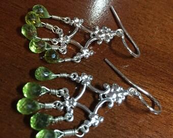 Peridot chandelier sterling earrings