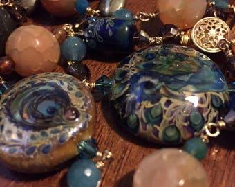 "Breathtaking peacock necklace - lampwork, labradorite, dyed agate & smoky quartz - 25"" FREE SHIPING to US"