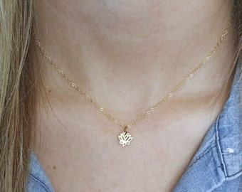 Lotus Necklace - Gold Tiny Lotus Necklace - Tiny Lotus Pendant - Lotus Jewelry - Yoga Necklace - Flower Necklace -Dainty Necklace