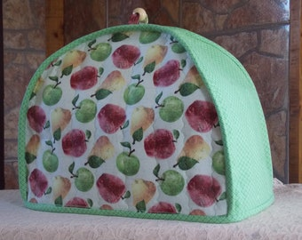 Handmade quilted toaster cover 2 slice, apples, pears, leaves, fruit, kitchen appliance cover, housewares