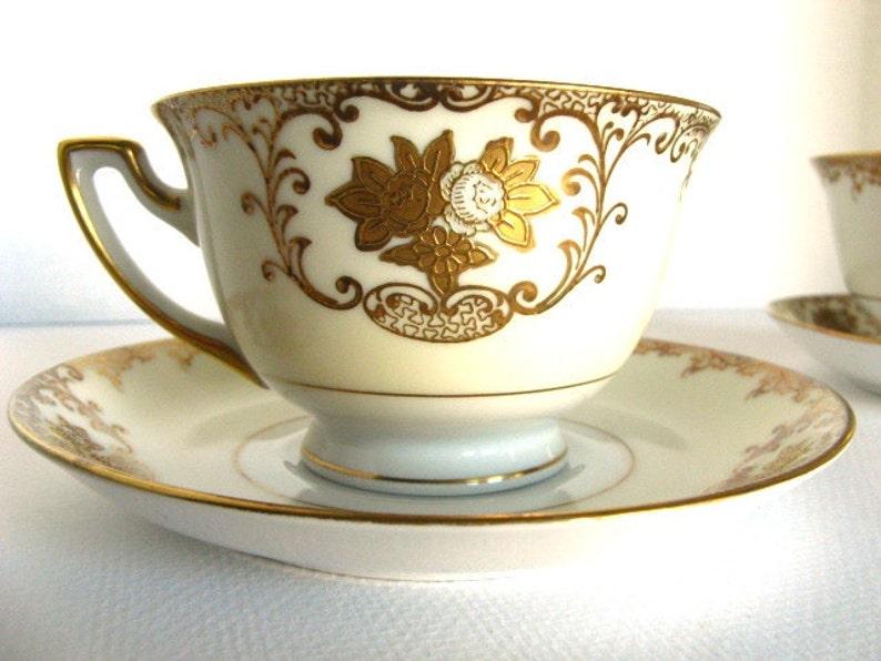 Elegant Teacup and Saucer Set  1940s Vintage Hand Painted image 0