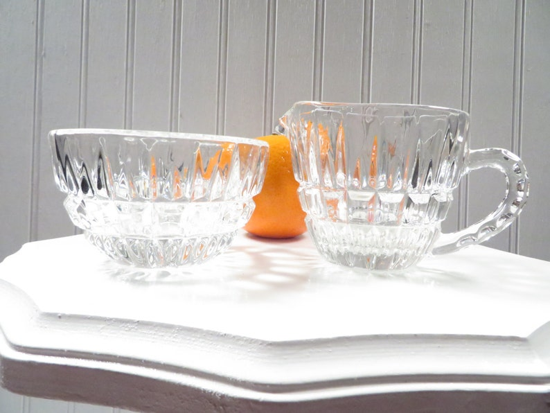 Vintage Cream and Sugar Set  Clear Glass 1960s Granny Chic image 0