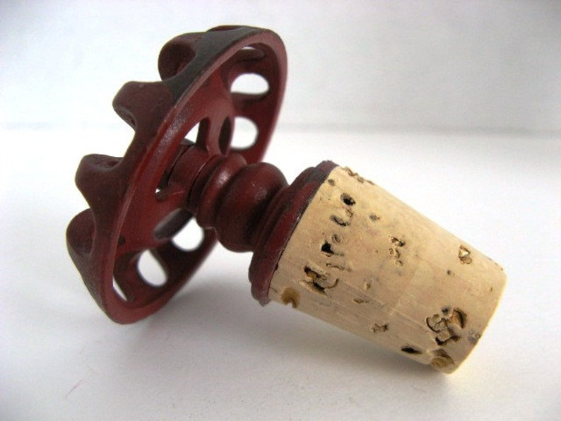 Repurposed Faucet Handle Bottle Stopper Red Metal  Great image 0