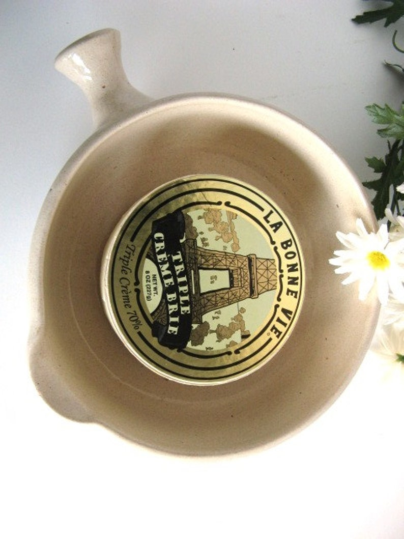 Vintage Pottery Brie Baker Rustic Handcrafted Small Casserole image 0