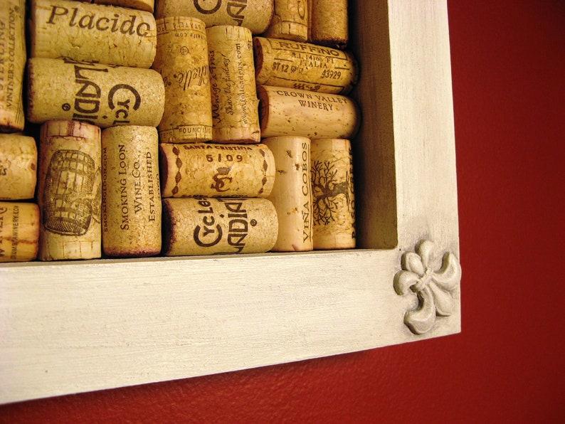 Recycled Wine Cork Bulletin Board Corkboard With Fleur de Lis image 0