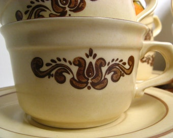 Vintage Pfaltzgraff Village Earthtone Cup and Saucer Set