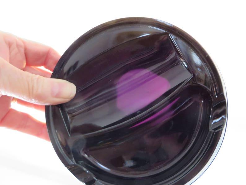 Vintage Black Amethyst Glass Ashtray 1930s image 0