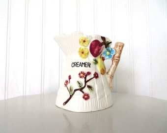 Vintage Creamer With Colorful Fruit and Flowers Motif Made in Japan