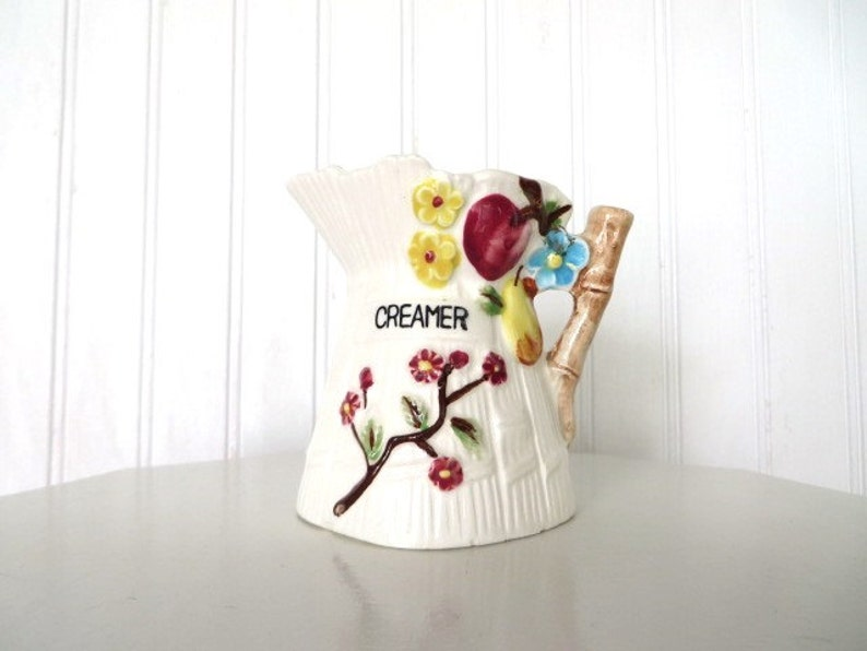 Vintage Creamer With Colorful Fruit and Flowers Granny Chic image 0