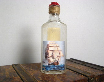Antique Bottle Art - Ship in a Bottle - Upcycled Antique Bottle
