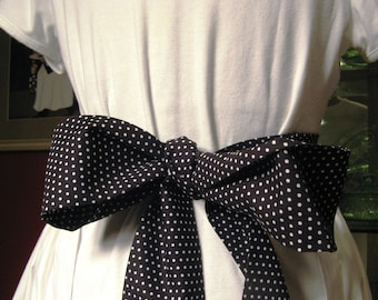 Repurposed Man's Shirt Half Apron with Big Black and White Dot Tie